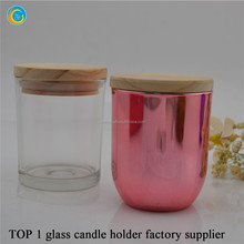 electroplate rose gold candle jar with lid glass candle cup