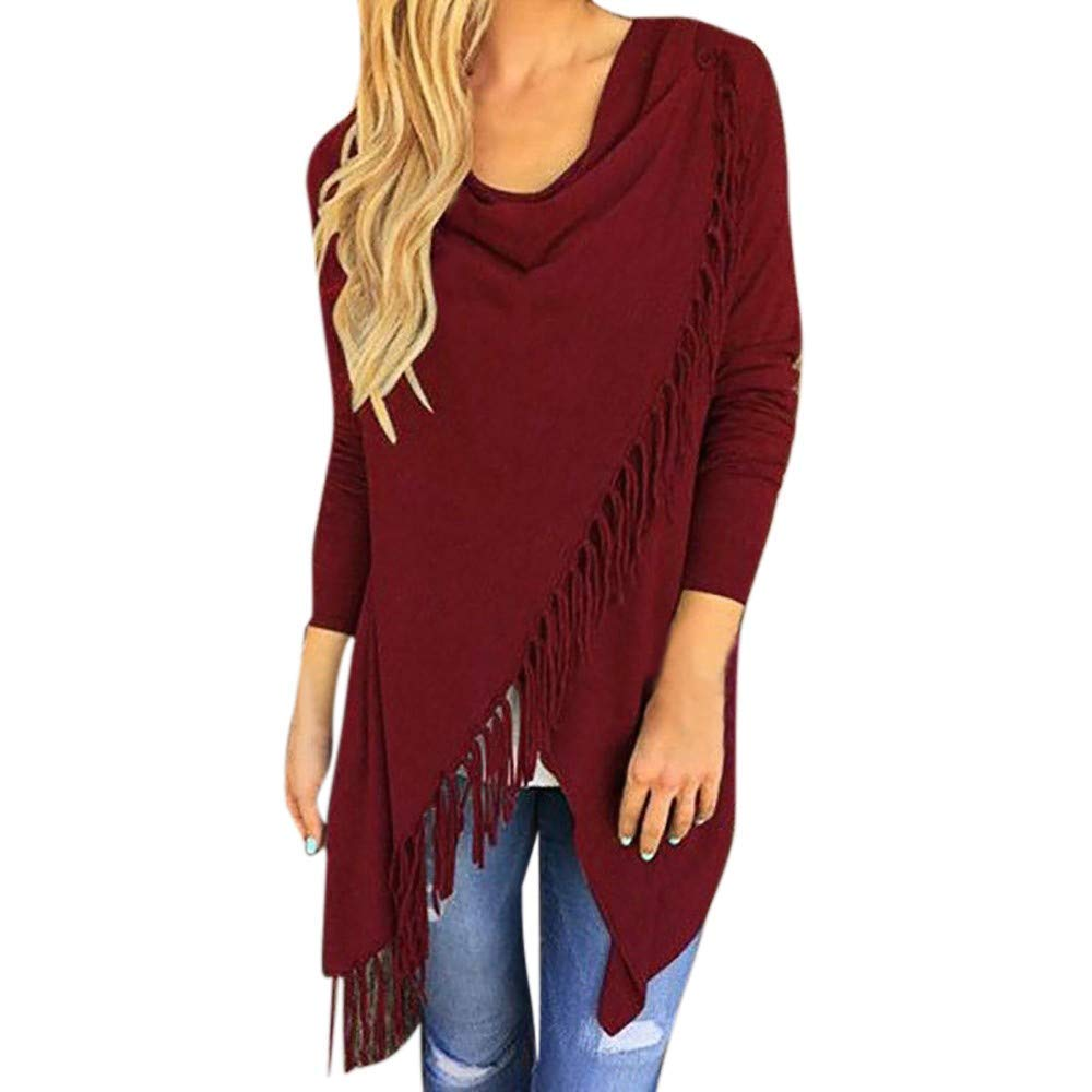 iTLOTL Women Long Sleeve Tassel Hem Crew Neck Knited Cardigan Blouse Tops Shirt