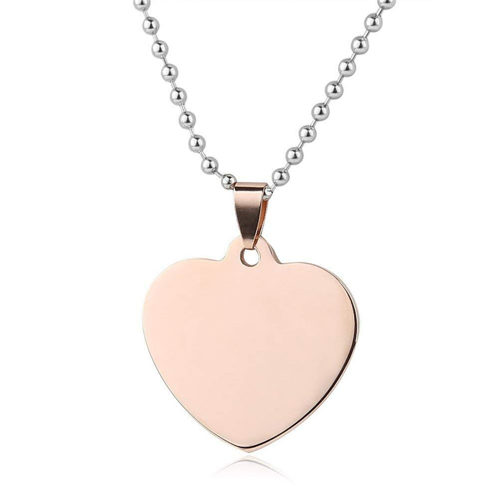 LiFashion LF Mens Womens Stainless Steel Personalized Nameplates Military Heart Dog Tag Pendant Necklace for Engagement Anniversary Birthday Gift,Free Engraving Customized