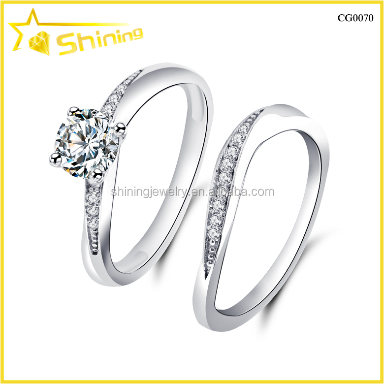 CG0070 wholesale factory direct sell women ring set 2pcs engagement diamond rings
