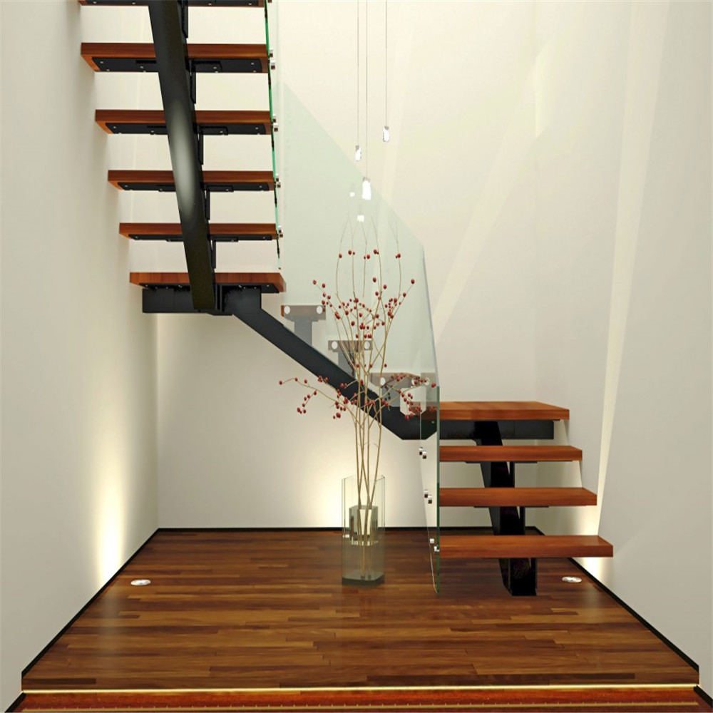 Indoor Wooden Staircase Pillar Design With Gl Railing