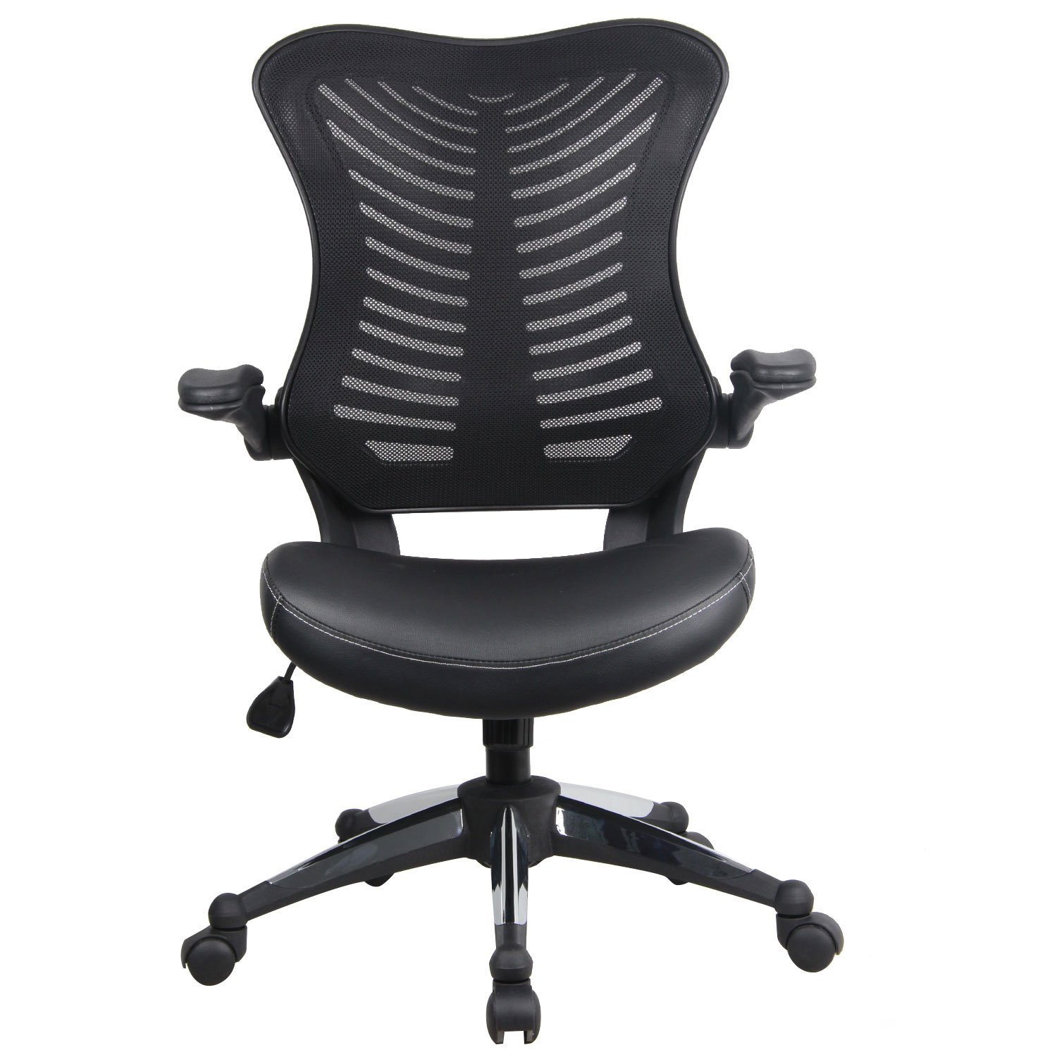 Homdox Ergonomic Office Chair, Adjustable Drafting Chair Breathable Mesh Fabric Chair Flip-up Padded Armrest with Five Dual-Wheel Handle Mechanism Swivel Height Home Office Chair (Black)