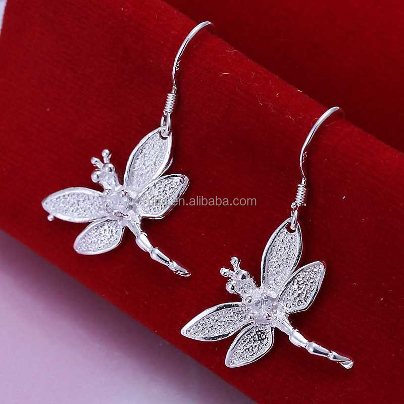 925 Sterling Silver Dragonfly Dangle Earrings
