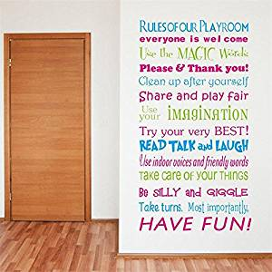 Funnytoday365 8332 Colorful Quote Wall Stickers Playroom Rules Home Decoration Wall Stickers Home Decor Waterproofing Wall Sticker