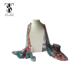 New Europe Style Women Long Soft Flower Chiffon Scarf Wrap Shawl Stole