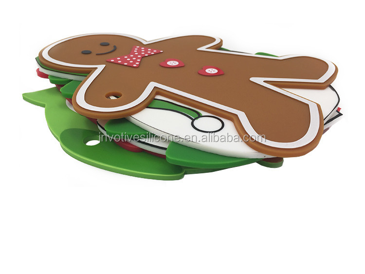 Fancy Christmas silicone trivet table mat with custom printing-6