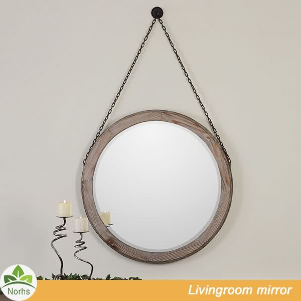 Norhs rustic unique handmade wood surround framed art round hanging mirror with hanging chain for wall decorative