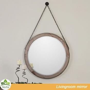 Norhs Rustic Unique Handmade Wood Surround Framed Art Round Hanging ...
