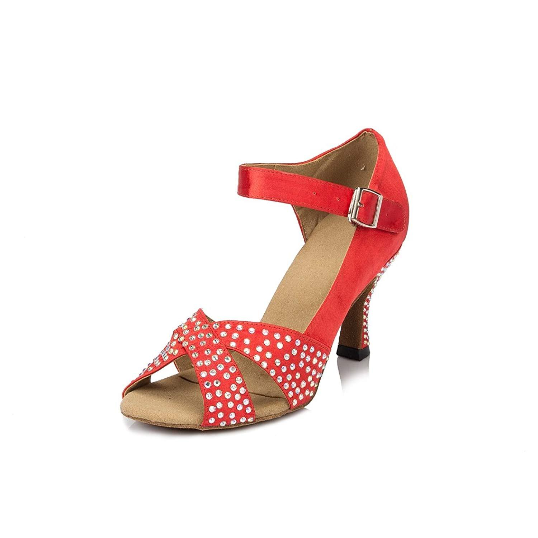Miyoopark Women's Flared Heel Satin Runway Sandals Samba Cha Cha Dance Shoes