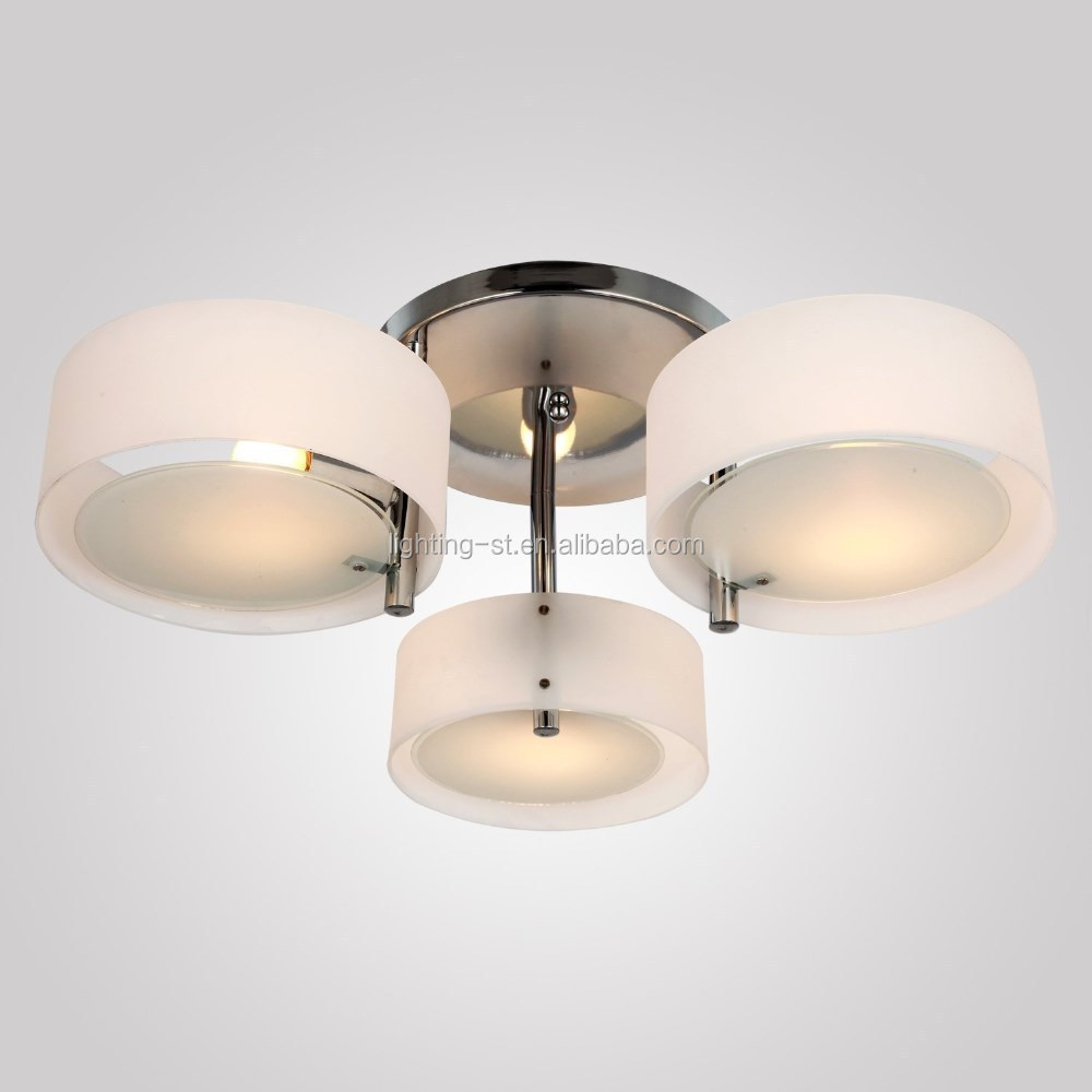 Sleek and Modern Acrylic Chandelier with 3 lights Flush Mount Ceiling Light Fixture decent chrome Finish