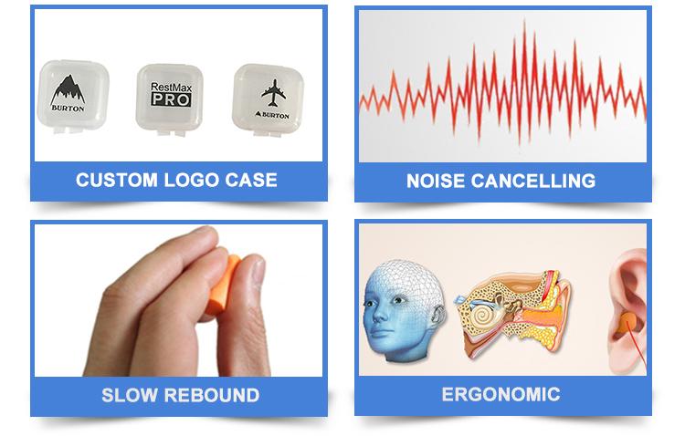 Custom Printing PU Foam Earplug with Plastic Box for Sleeping Airline Ear Plugs for Noise Reduction