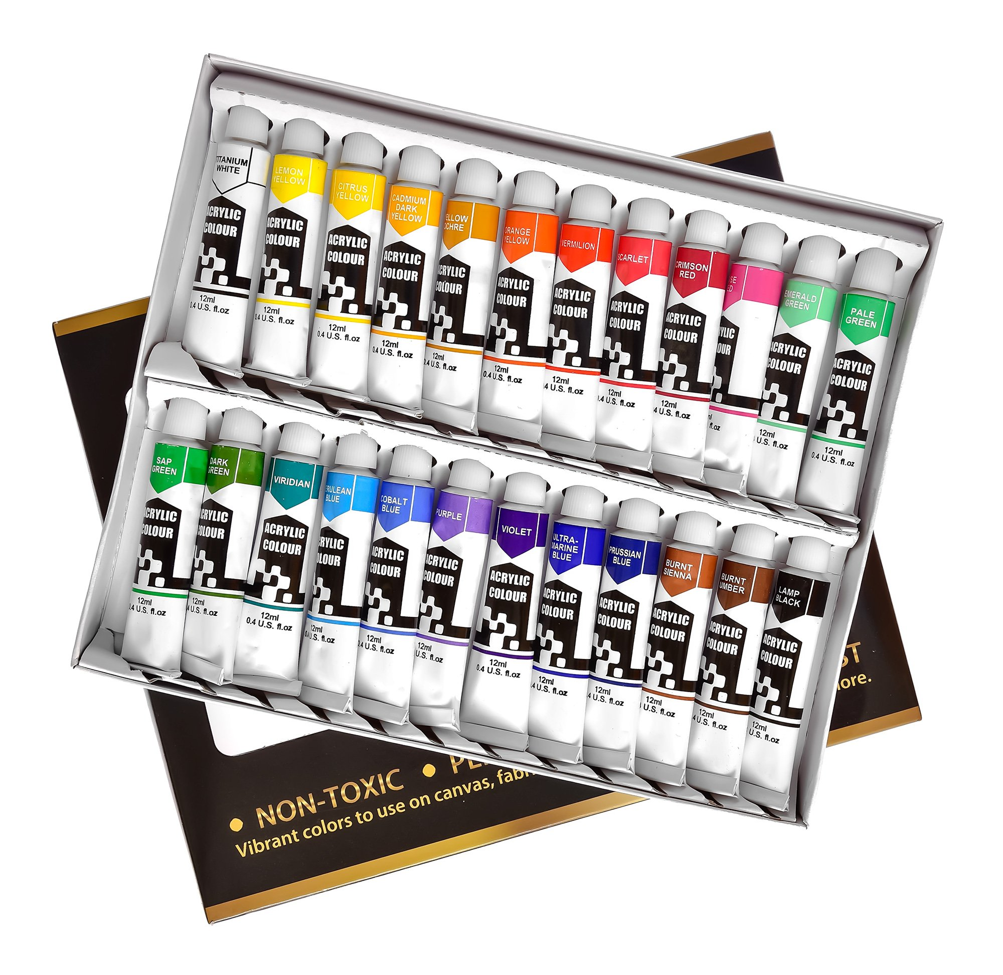 Noble Quality Acrylic Paint Set – Kit With 24 Tubes of Premium Quality Acrylic Paints – Superior Premium Paints for Acrylic Painting