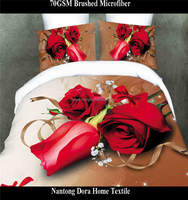 Home textile red rose printed romantic bedding set duvet cover set Queen