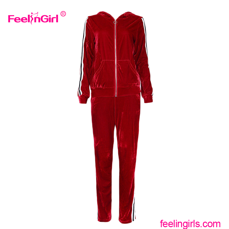 Fashion Two Piece Long Sleeve High Neck Red Sport Ladies Tracksuit
