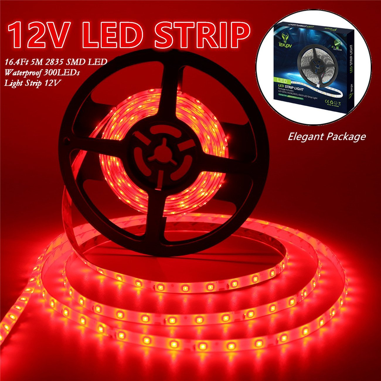 Led Strip Lights, IEKOV™ 2835 SMD 300LEDs Waterproof Flexible Xmas Decorative Lighting Strips, LED Tape, 5M 16.4Ft DC12V, 2 times brightness than SMD 3528 LED Light Strip (Red)