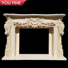 Indoor Decoration Contemporary White Marble Fireplace Surround