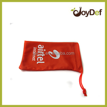Customized printed promotional eyeglasses smartphone cleaning drawstring microfiber pouch