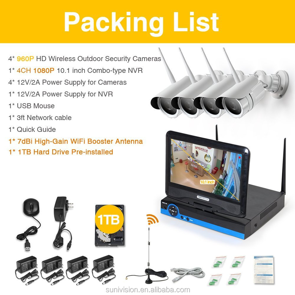 4ch All in one with screen Wireless Security Camera System