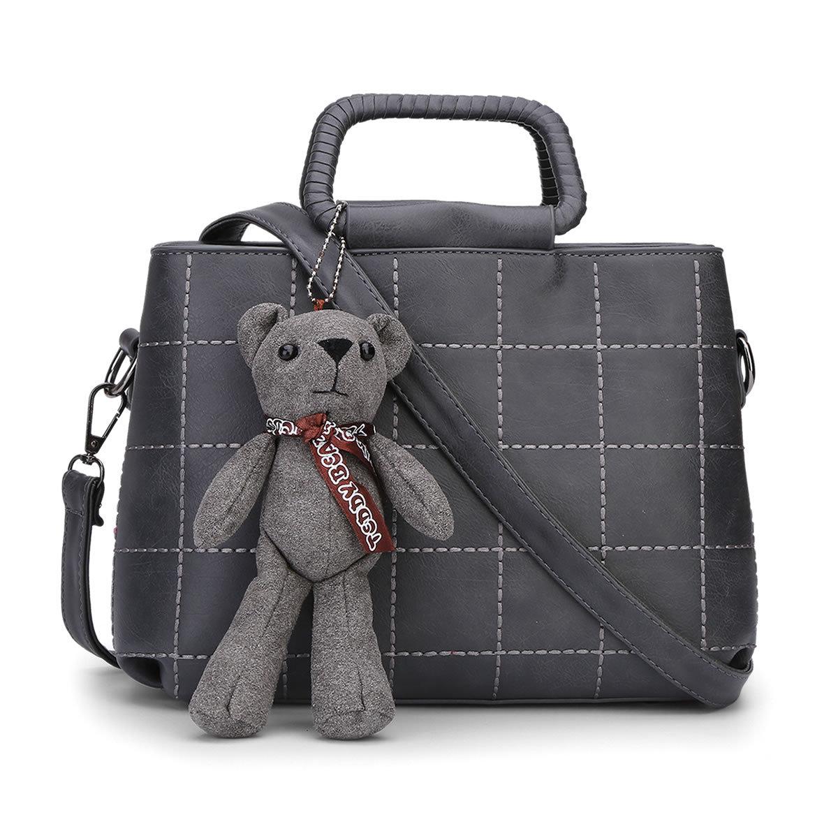 Spring New  Vintage Plaid Women Shoulder Bags With Cute Bear Toy  Korean Fashion Style Cute Women Bag  Messenger Handbag Q5