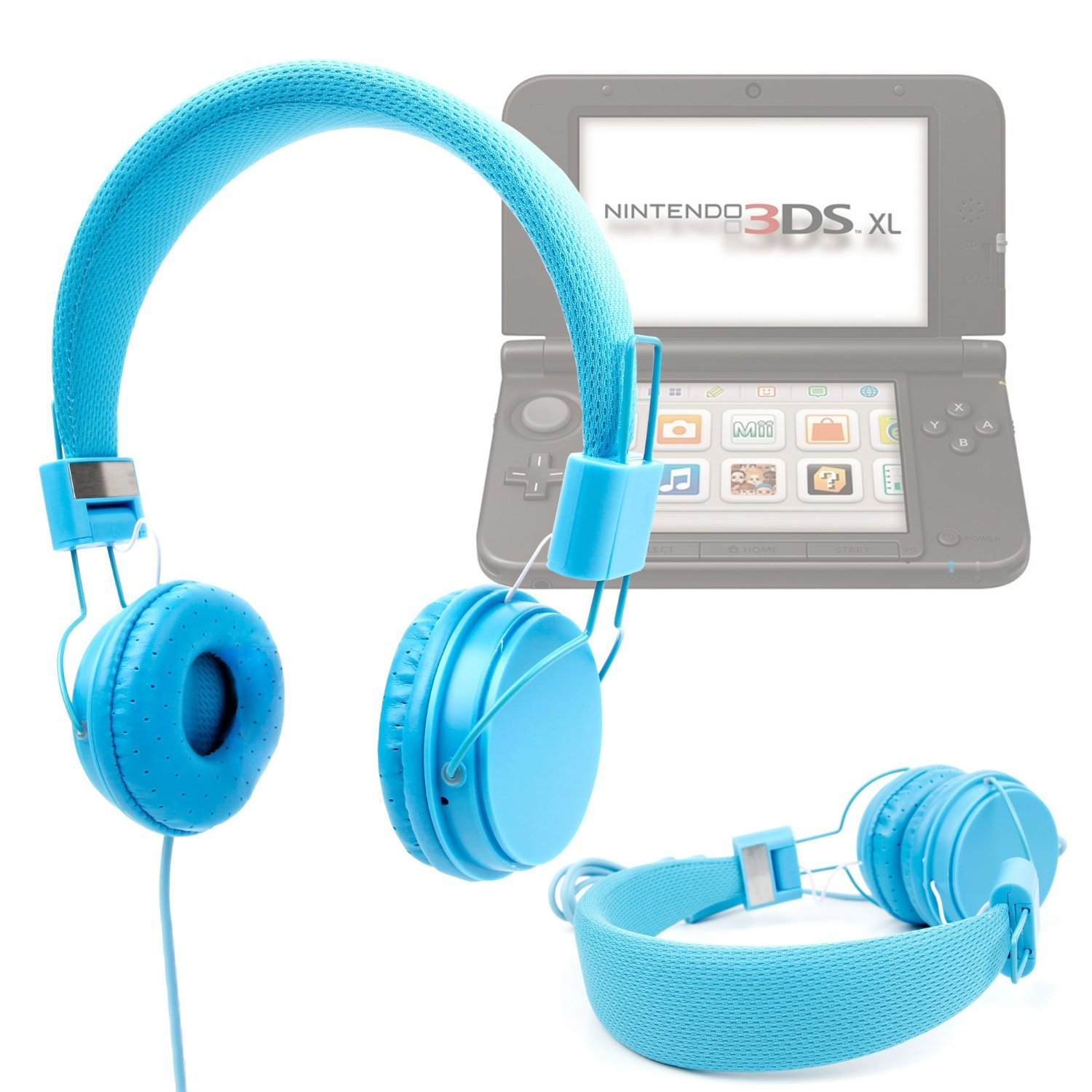 DURAGADGET Blue Ultra-Stylish Kids Fashion Headphones For New Nintendo 3DS XL - With Padded Design, Button Remote And Microphone Function