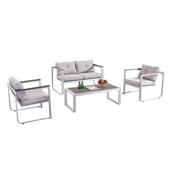 Garden Brush Aluminum Poly Wood Sofa Patio Lounge Set Outdoor Furniture