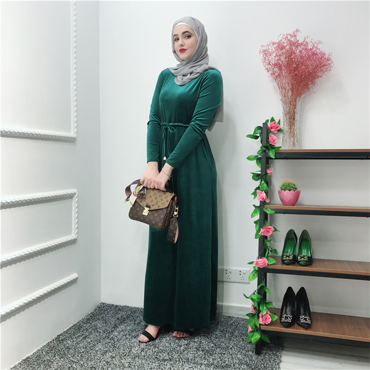 Hot Selling Long Sleeves Green  Muslim velvet Maxi Dress Abaya  for Women