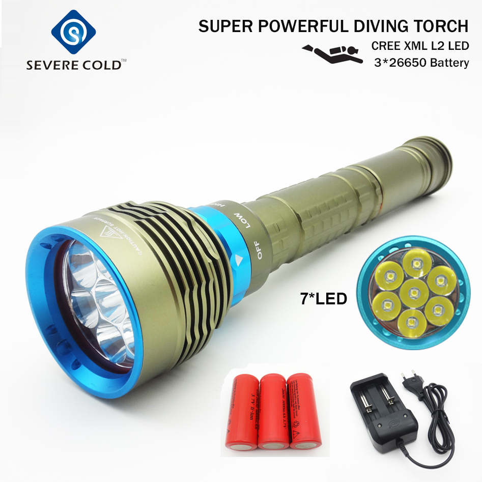Severe Cold Rechargeable Flashlight Torch Police Flashlight Waterproof 7L2 26650 LED Diving Flashlight