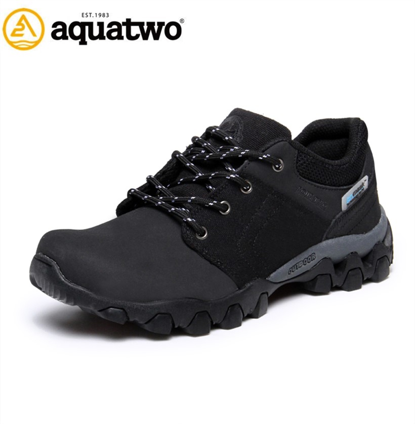 2017 China Direct Sale AQUATWO Anti-slip Men Leather Athletic Running Shoes WIth OEM Service