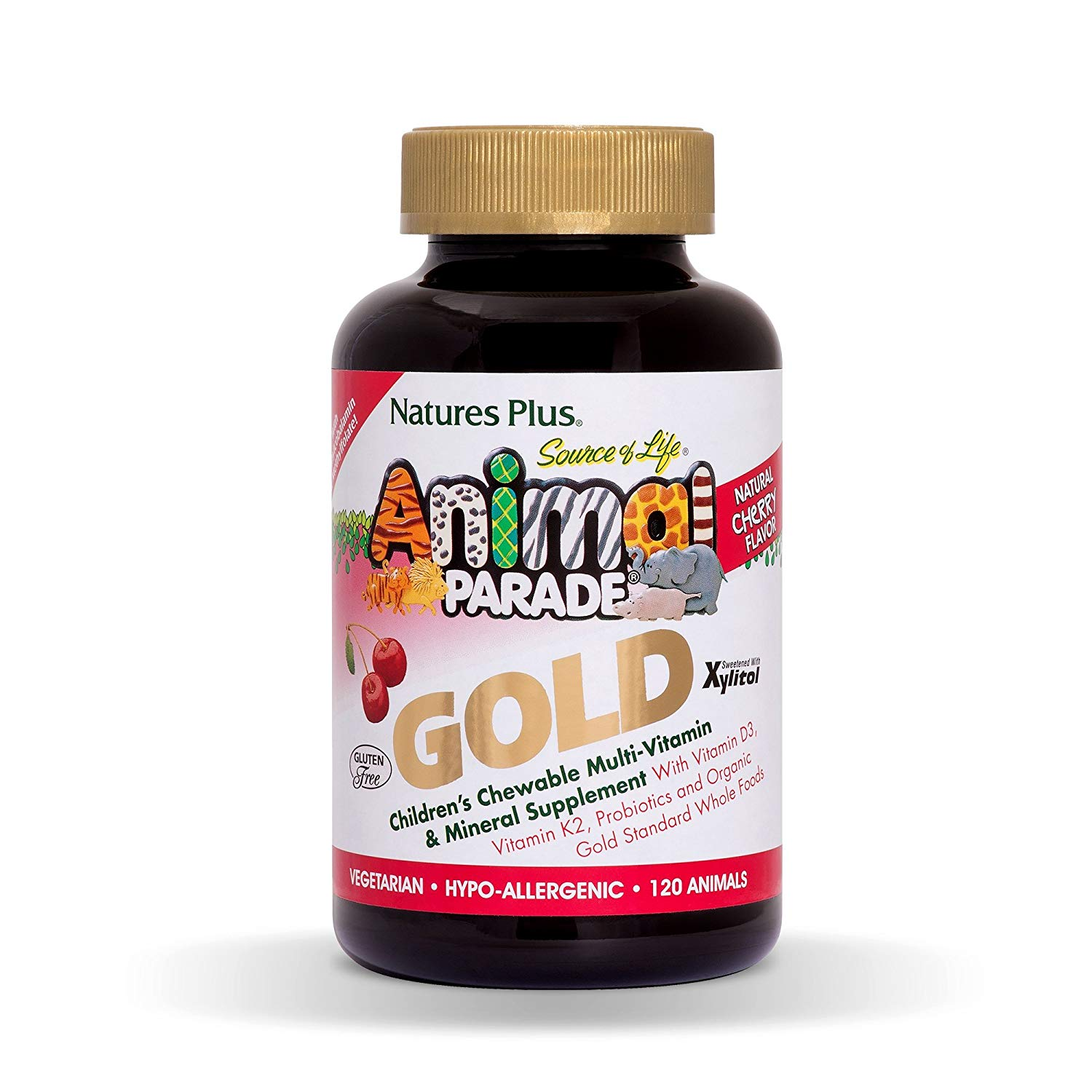 Natures Plus Animal Parade Source of Life Gold Childrens Multivitamin - Cherry Flavor - 120 Chewable Animal Shaped Tablets - Organic Whole Foods, Gluten Free, D3, K2, Immune Support - 60 Servings