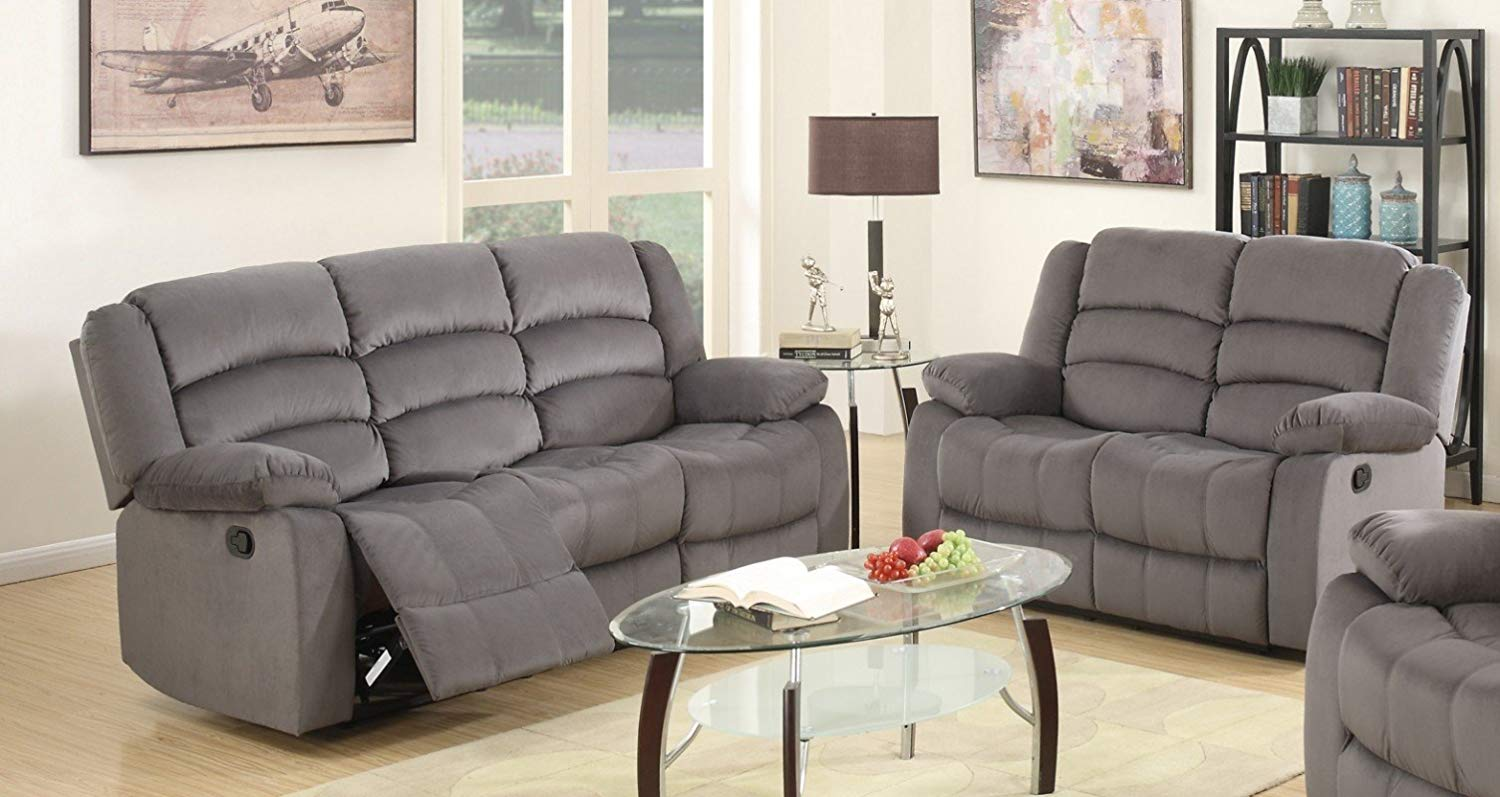 Get Quotations Blackjack Furniture 9824 Gray 2pc Complete Microfiber Reclining Sofa And Loveseat Set