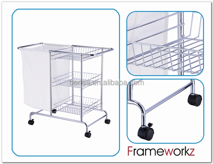 Hotel Metal Laundry Cart With Wheels / Storage Cart With