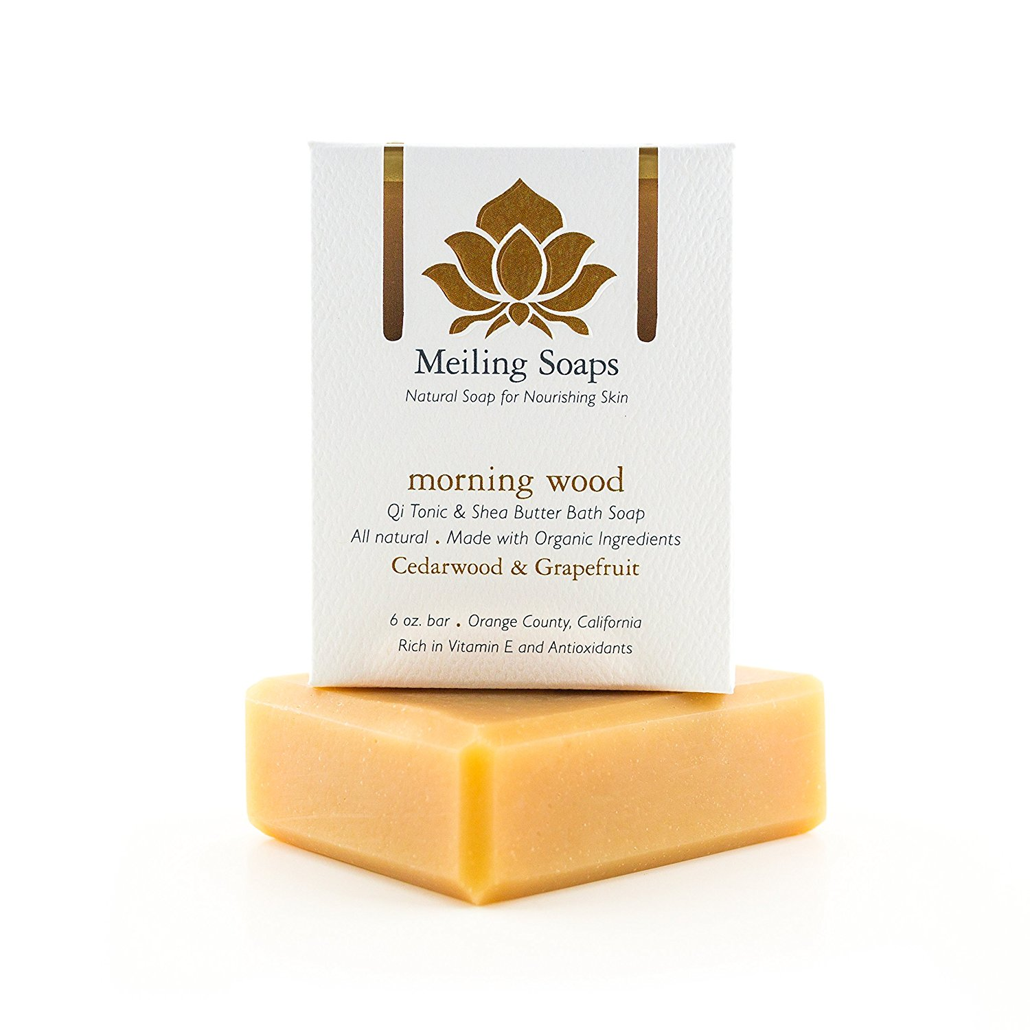Morning Wood – Organic Natural Soap Bar Cedarwood Lime & Grapefruit Essential Oil Organic Shea Butter Soap w Vitamin E & Antioxidants - 6 Ounce Moisturizing Natural Soap Bar from Meiling Soaps