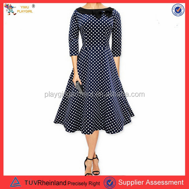 PGWC2023 Women's Polka Retro Dot Long Sleeve Party Office Casual Dress With Belt