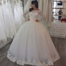 ON3051 Long Sleeve Lace Wedding Dresses Ball Gown Tulle Wedding Gowns Bridal Bride Dresses Weddingdress Vestidos De Noiva