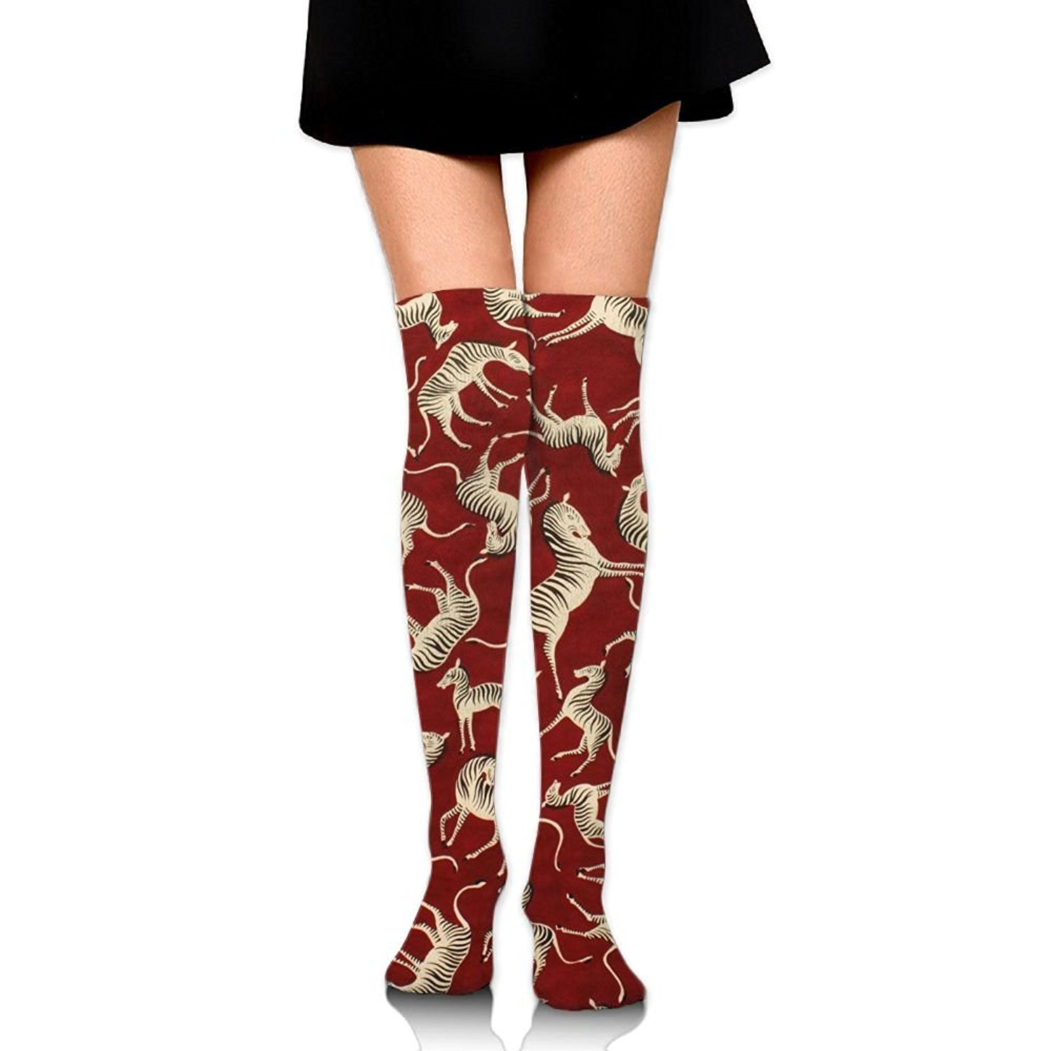 Zaqxsw Zebra Animal Women Cool Thigh High Socks Thermal Socks For Ladies
