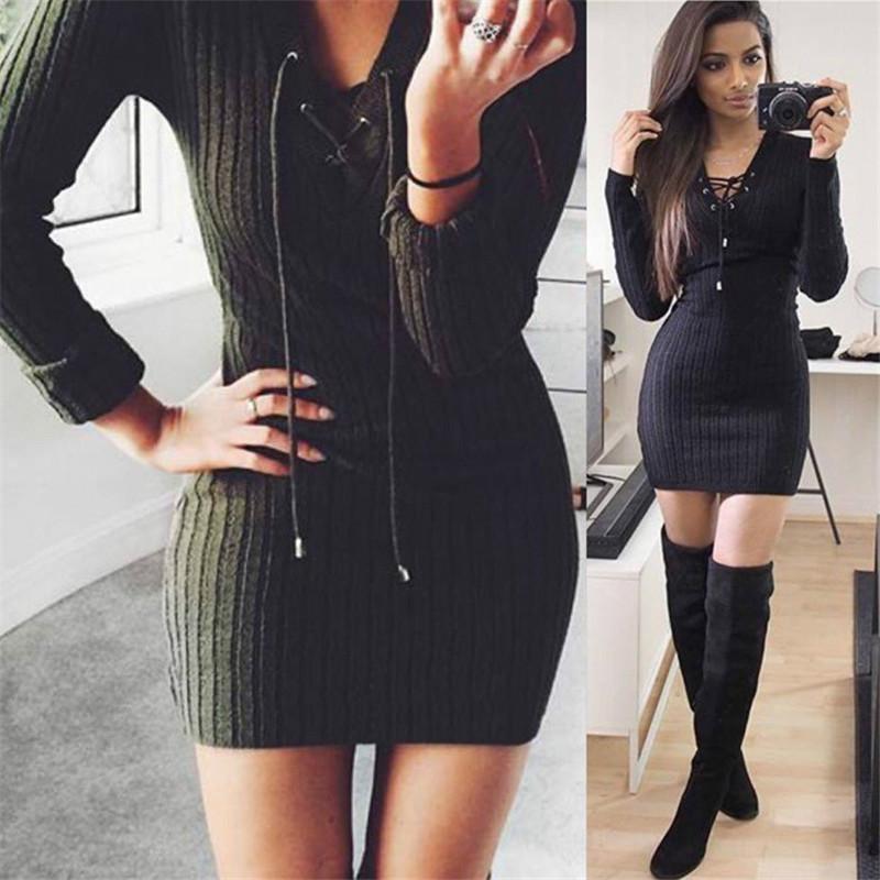 a971f08d2dd IYAEGE Autumn Women Sexy Sweater Dress Casual Long Sleeve Knitted ...