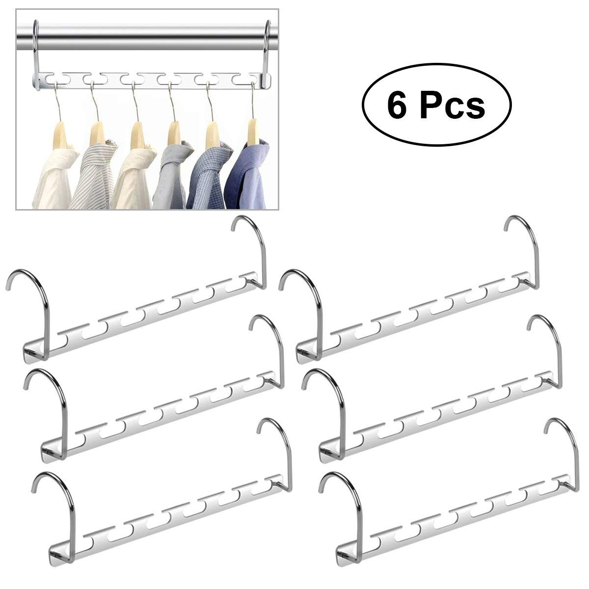 Get Quotations Healifty 6pcs Multifunction Wardrobe Closet Bar Clothes Coat Hanger Organizer Silver