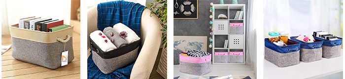 Household High Quality Big Rectangular Collapsible Organizer Bin Carry Handle Fabric Linens Storage Basket