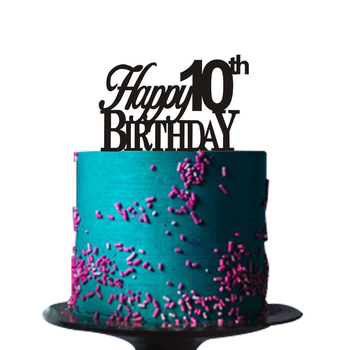 Peachy Black Acrylic Happy 10Th Birthday Cake Topper Customized Cake Personalised Birthday Cards Paralily Jamesorg
