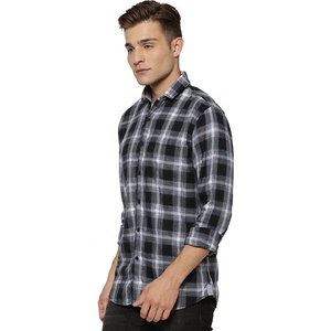 India trendy long sleeve black men plaid t shirt design with button