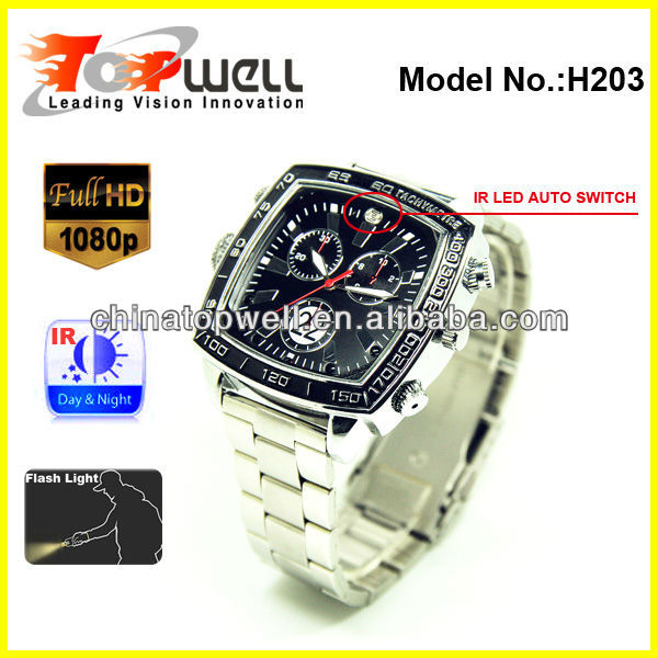 2013 The World's Newest 1080P Full HD IR Night Vision Video Wrist Watch DVR with Torch Function for Outdoor Lovers