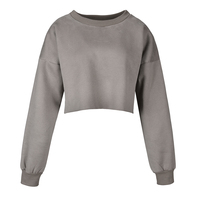 Wholesale women crop top hot sell high quality blank sweatshirts pullover
