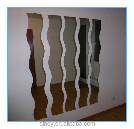 긴 웨이브 모양의 홈 데코 실버 미러 유리, 장식 벽 거울, 욕실 ...