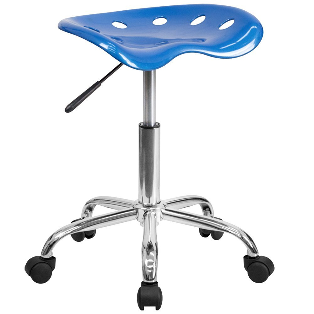 Bright Blue Office Stool with Tractor Seat and Chrome Frame