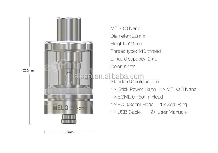 elego top selling tiny e cigarette vape mod 40watt istick power nano with newest melo 3 nano