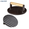Bacon Steak Weight Burger Meat Cooking Cast Iron Round Grill Press Wood Handle