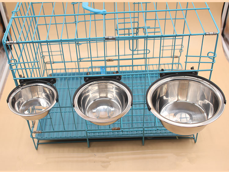 Pet travel elevated raised cage hanging stainless steel dog bowl