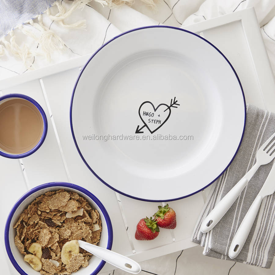Original personalised carved heart enamel plate metal decorative dishes