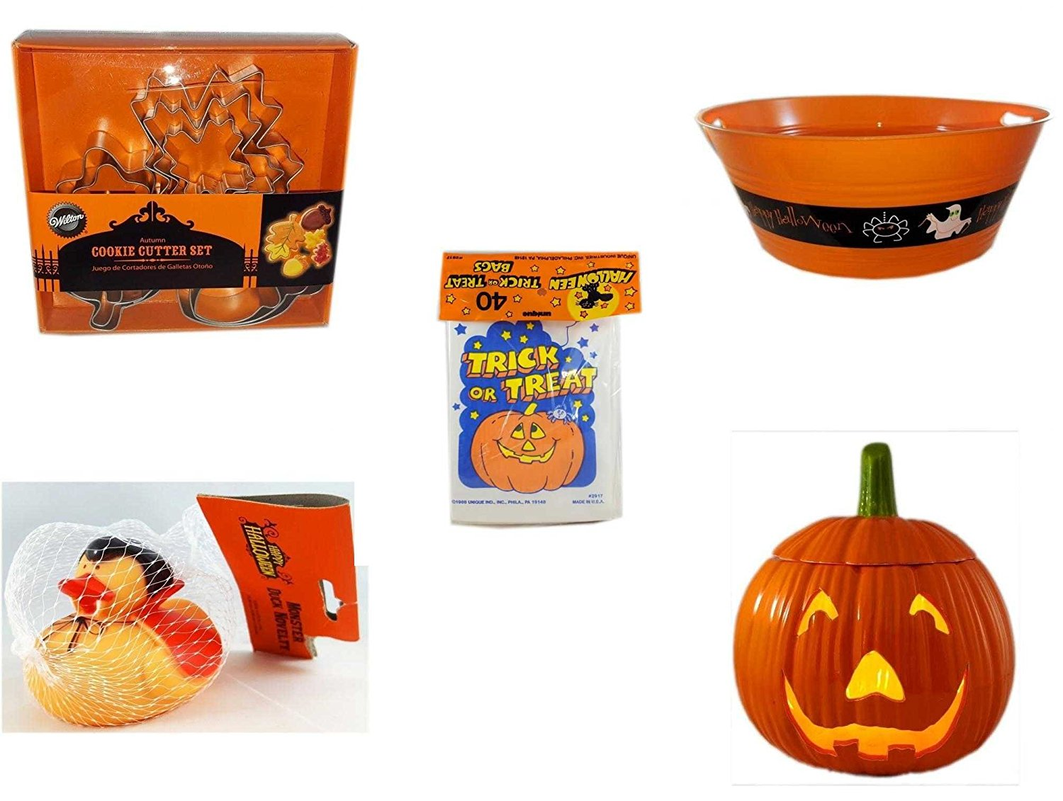 "Halloween Fun Gift Bundle [5 piece] - Wilton Autumn 8-Piece Cookie Cutter Set - 17.75 Inch Orange ""Happy Halloween"" Party Tub - Halloween Trick or Treat Bags 40/ct - Happy Halloween Monster Duck No"