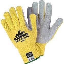 Memphis Glove Medium Yellow Grip Sharp 7 gauge Leather High Comfort Level Cut Resistant Gloves With Knit Wrist, Cotton Lined, Leather Coating And Kevlar Brand Fiber Shell - 1 PR